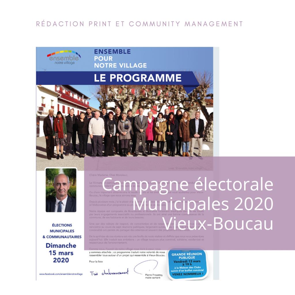 Programme de la campagne électorale à Vieux-Boucau